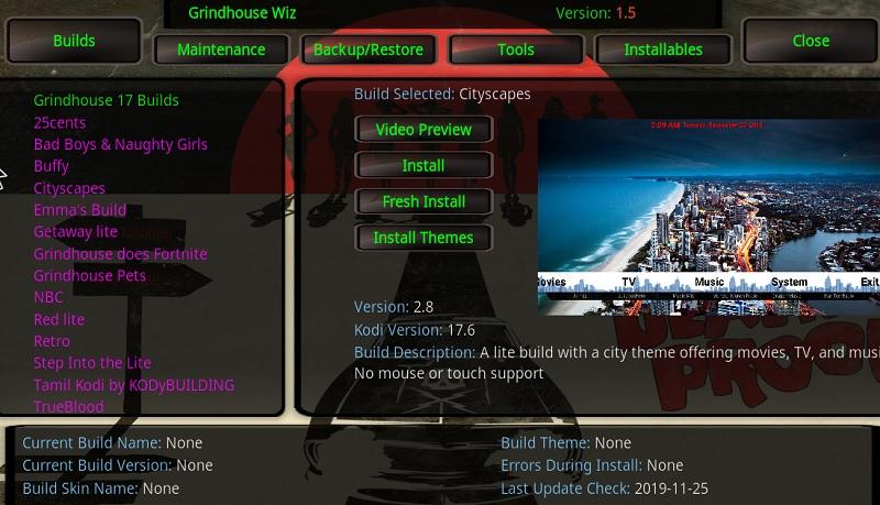 grindhouse Kodi builds