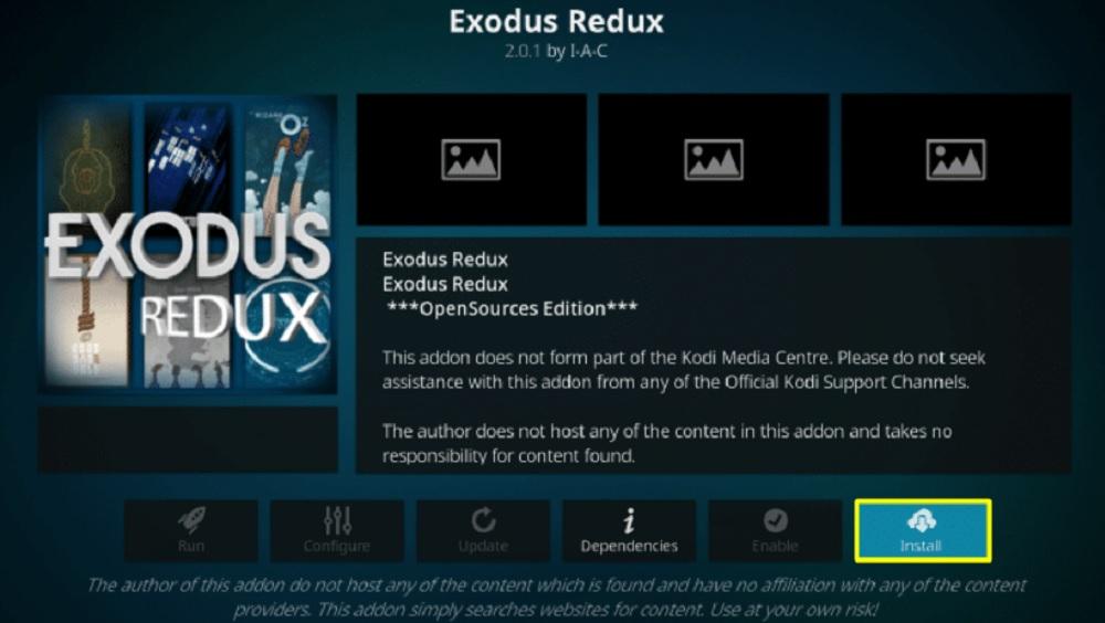 Install exodus redux kodi addon