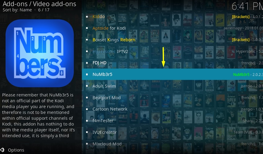 Numbers addon on kodi