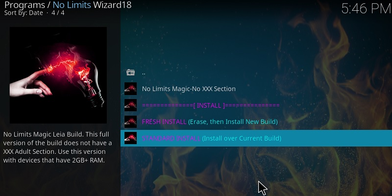 kodi no limits build Standard install