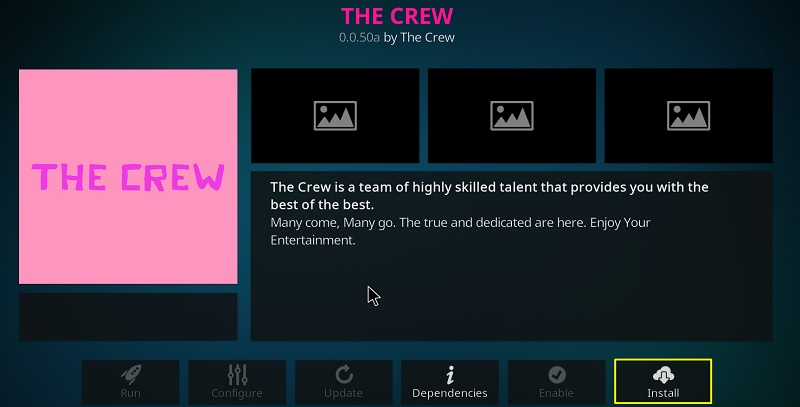 Install the Crew Kodi addon