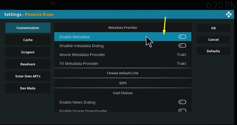 Toggle off Enable Metadata
