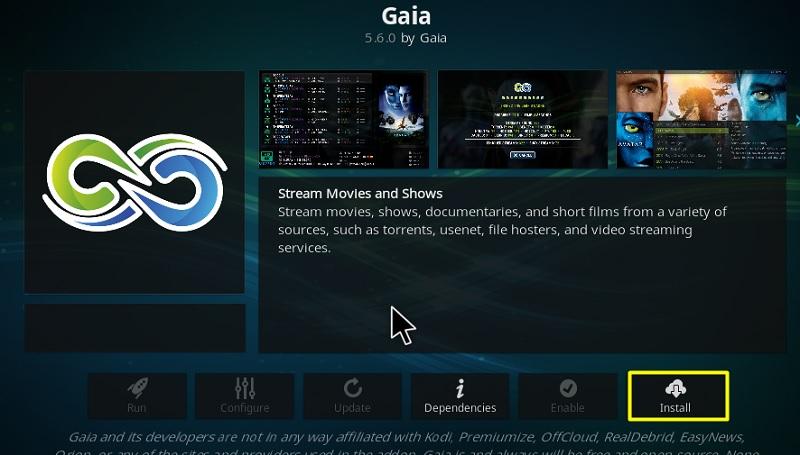 Install Gaia addon