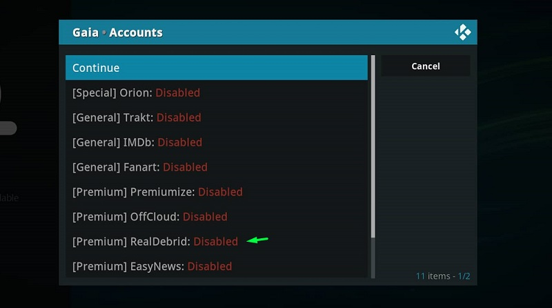RealDebrid account with Gaia
