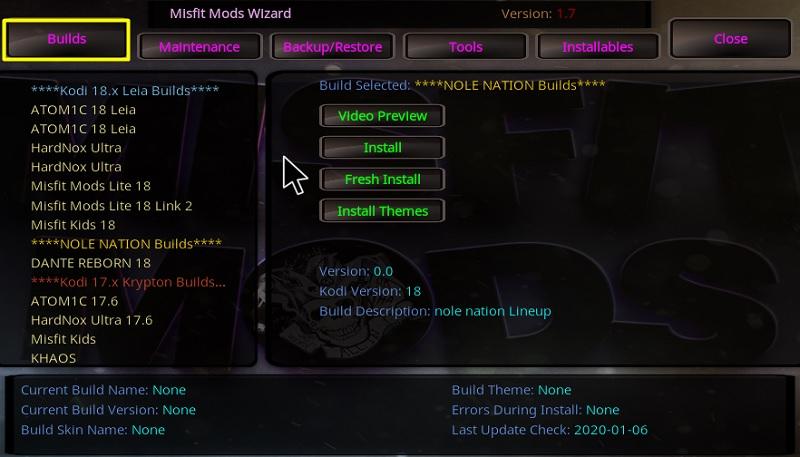misfit mods build on kodi
