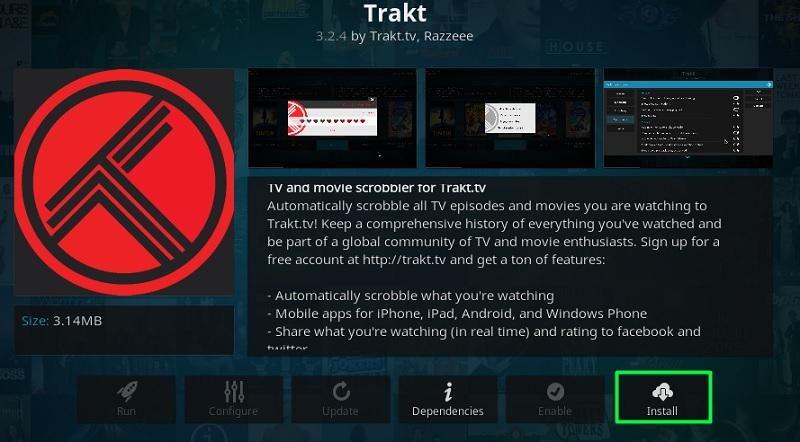 install trakt.tv on kodi